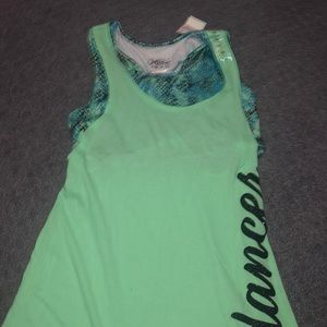 A green neon shirt with an attachable bra